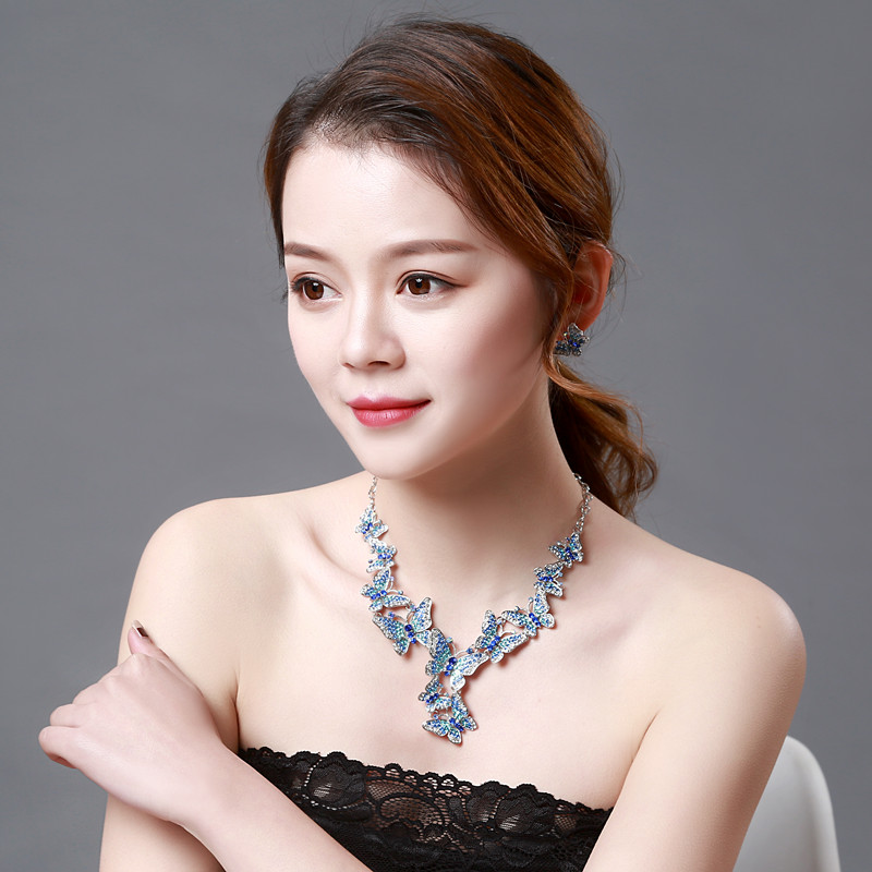 Blue butterfly Crystal Rhinestone Crystal Statement Necklace - Luxury Elegant Fashion European Baroque Necklace For Party