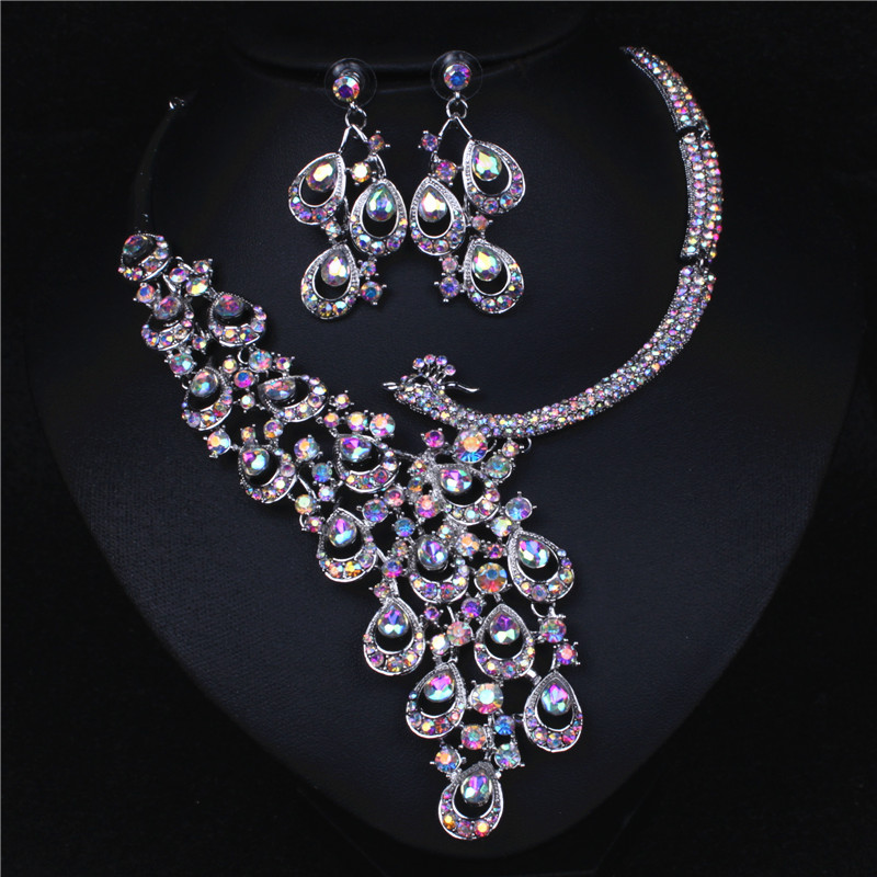 Peacock AB Crystal Rhinestone Crystal Statement Necklace - Luxury Elegant Fashion European Baroque Necklace For Party