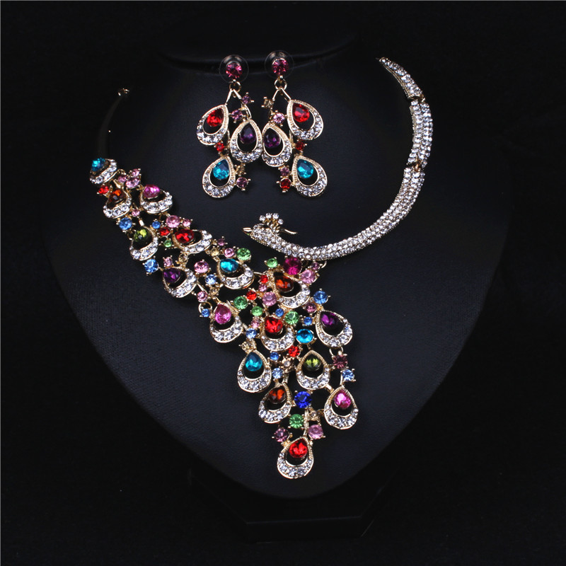 Peacock Colorful Crystal Rhinestone Crystal Statement Necklace - Luxury Elegant Fashion European Baroque Necklace For Party