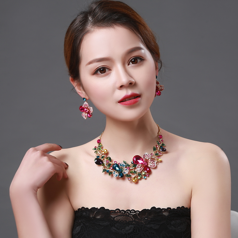 Colorful Crystal Rhinestone Crystal Statement Necklace - Luxury Elegant Fashion European Baroque Flower Necklace For Party
