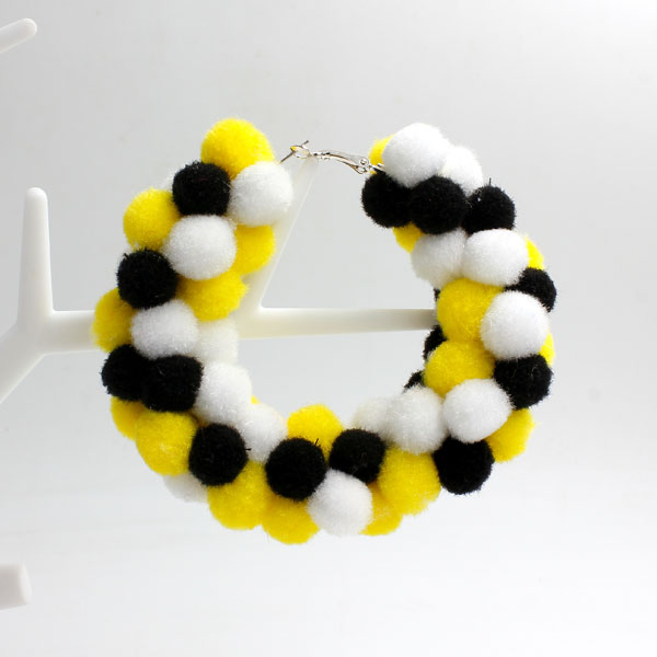 "Pom poms Hoop Earring, 2.6"", #1, sold by 1 pair"