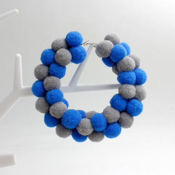 "Pom poms Hoop Earring, 2.6"", #2, sold by 1 pair"