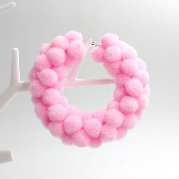 "Pom poms Hoop Earring, 2.6"", pink, sold by 1 pair"