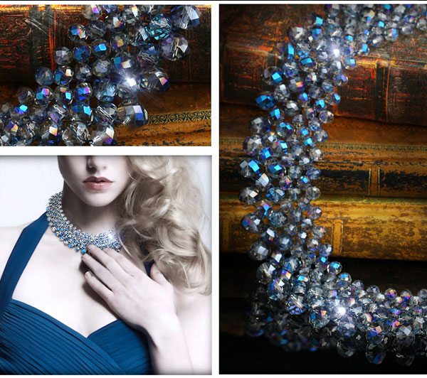 crystal beads Clavicle necklace DIY kits, blue light