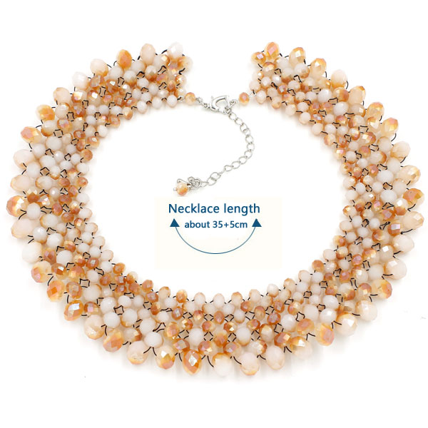 crystal beads Clavicle necklace DIY kits, white jade plated half amber light