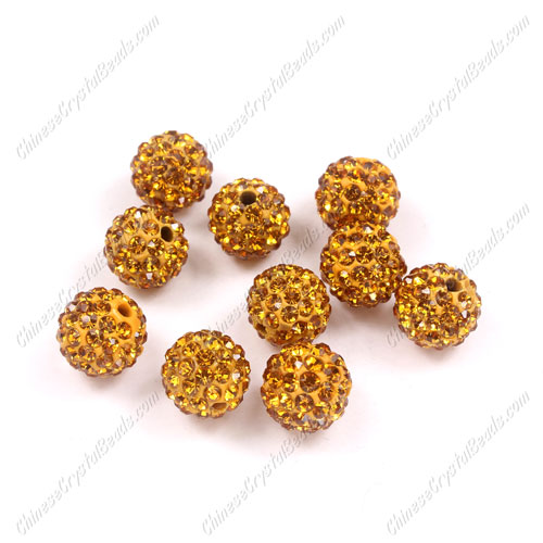 50pcs, 10mm Pave (clay) disco beads, amber, hole: 1.5mm