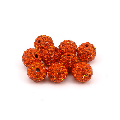50pcs, 10mm Pave clay disco beads, hole: 1.5mm, orange
