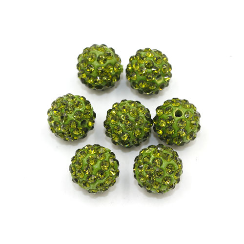 50pcs, 12mm Pave beads, hole: 1.5mm, clay disco beads, Olive green