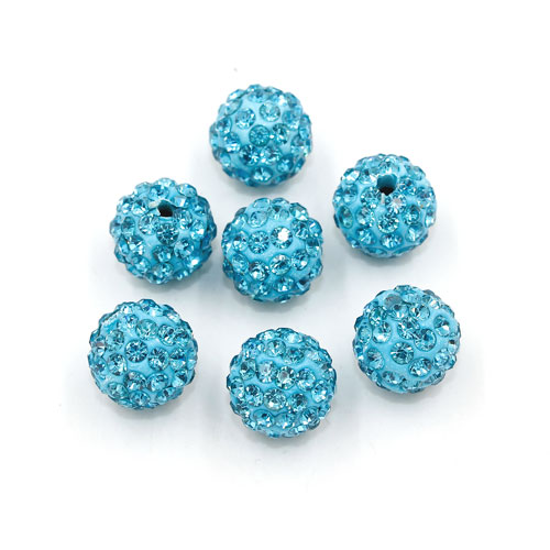 50pcs, 12mm Pave beads, hole: 1.5mm, clay disco beads, aqua