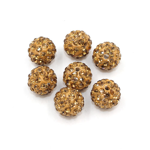50pcs, 12mm Pave beads, hole: 1.5mm, clay disco beads, Champagne