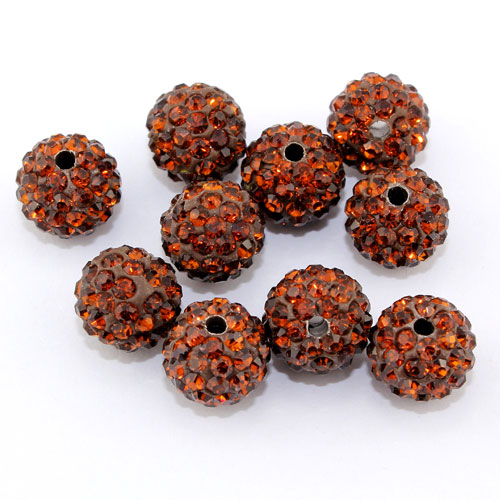 50pcs, 12mm Pave beads, hole: 1.5mm, clay disco beads, coffee