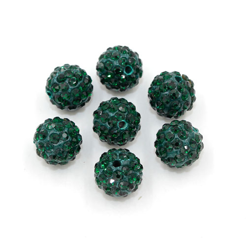 50pcs, 12mm Pave beads, hole: 1.5mm, clay disco beads, Emerald