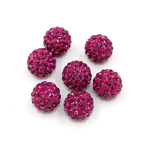 50pcs, 12mm Pave beads, hole: 1.5mm, clay disco beads, fuchsia