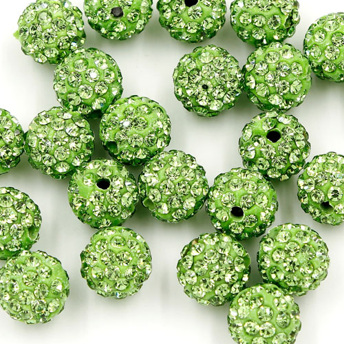 50pcs, 12mm Pave beads, hole: 1.5mm, clay disco beads, green