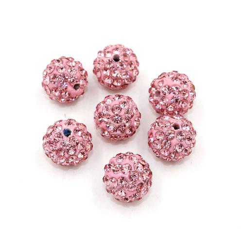 50pcs, 12mm Pave beads, hole: 1.5mm, clay disco beads, light pink