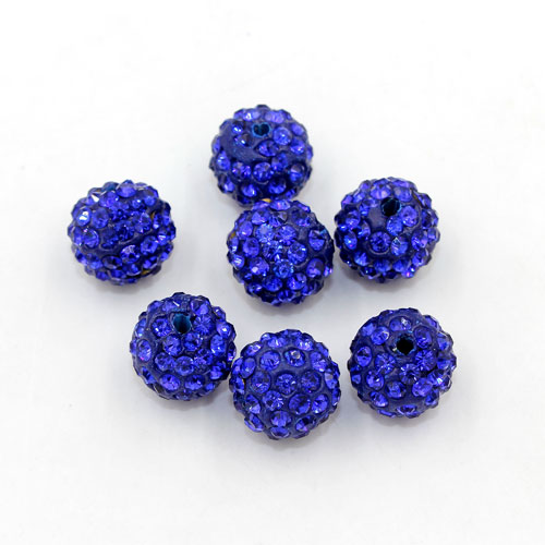 50pcs, 12mm Pave beads, hole: 1.5mm, clay disco beads, navy blue