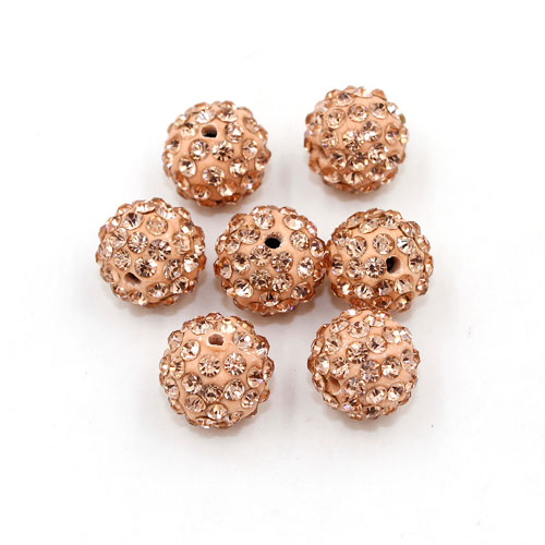 50pcs, 12mm Pave beads, hole: 1.5mm, clay disco beads, peach