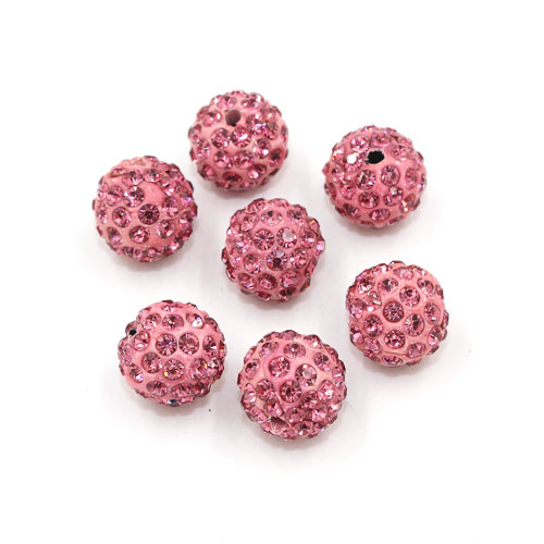 50pcs, 12mm Pave beads, hole: 1.5mm, clay disco beads, pink