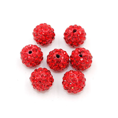 50pcs, 12mm Pave beads, hole: 1.5mm, clay disco beads, red