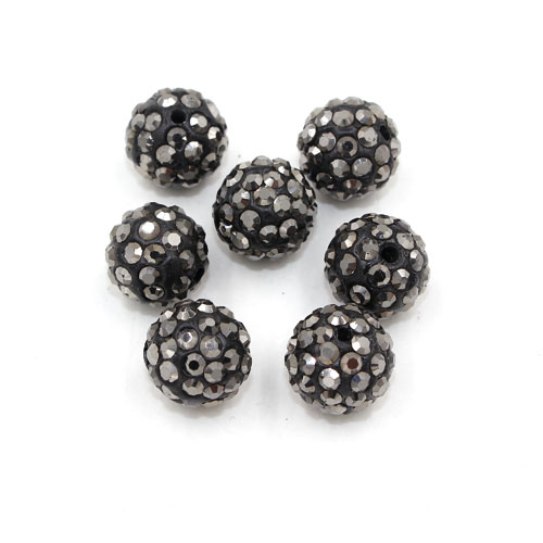 50pcs, 12mm Pave beads, hole: 1.5mm, clay disco beads, silver