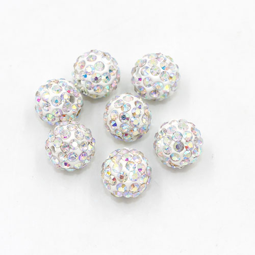 50pcs, 12mm Pave beads, hole: 1.5mm, clay disco beads, white AB