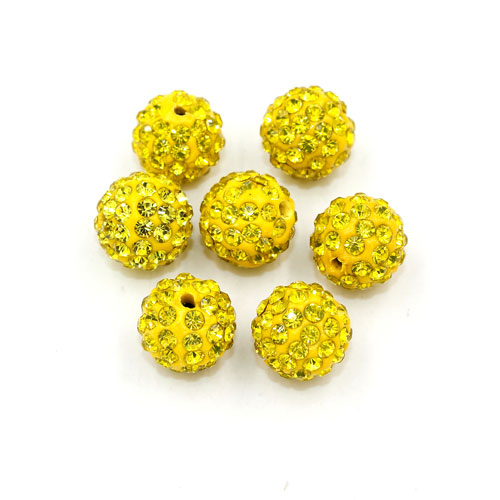 50pcs, 12mm Pave beads, hole: 1.5mm, clay disco beads, yellow