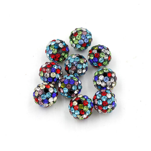 50Pcs Pave clay disco beads, mix color (black base), hole: 1.5mm