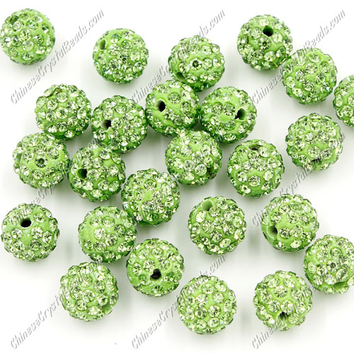 50pcs, 10mm Pave disco beads, clay pave beads, green, hole: 1.5mm