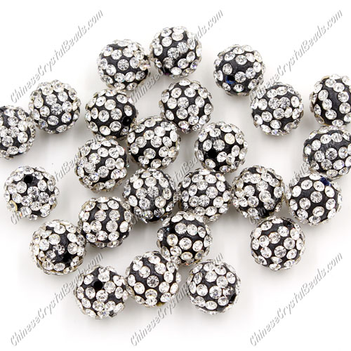 50pcs, 10mm Pave clay disco beads white and black base, 10mm, hole: 1.5mm