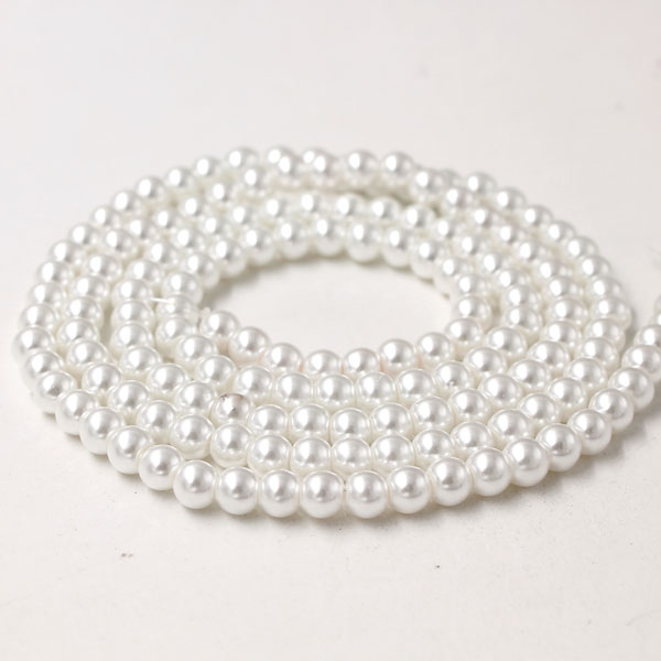 Glass Pearl Beads, Round, white, different size for choice, Hole:Approx 1mm, Length:Approx 32 Inch