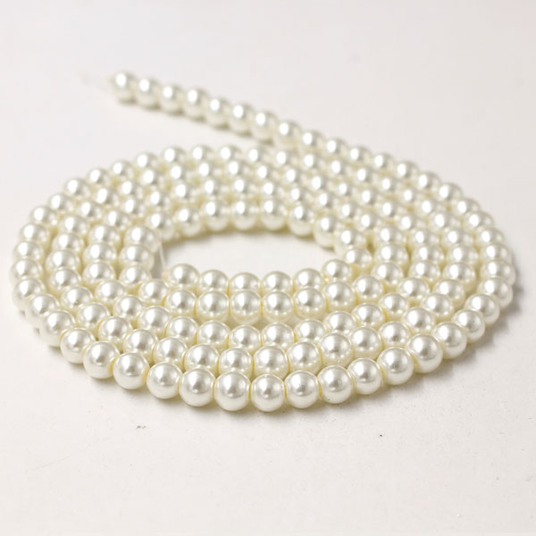 Glass Pearl Beads, Round, milk, different size for choice, Hole:Approx 1mm, Length:Approx 32 Inch