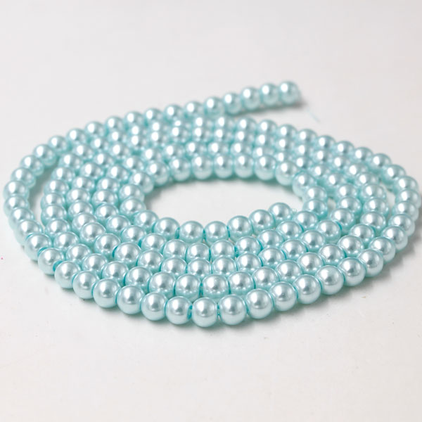 Glass Pearl Beads, Round, lt aqua, different size for choice, Hole:Approx 1mm, Length:Approx 32 Inch