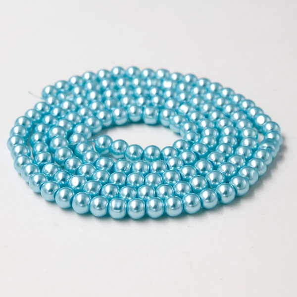 Glass Pearl Beads, Round, med aqua, different size for choice, Hole:Approx 1mm, Length:Approx 32 Inch