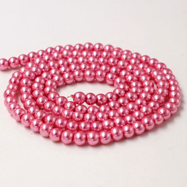 Glass Pearl Beads, Round, Persian Pink, different size for choice, Hole:Approx 1mm, Length:Approx 32 Inch