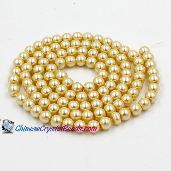 Glass Pearl Beads, Round, light yellow, different size for choice, Hole:Approx 1mm, Length:Approx 32 Inch
