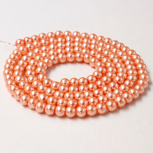 Glass Pearl Beads, Round, rosaline, different size for choice, Hole:Approx 1mm, Length:Approx 32 Inch