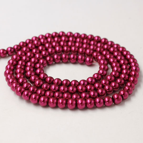 Glass Pearl Beads, Round, Violet Red, different size for choice, Hole:Approx 1mm, Length:Approx 32 Inch