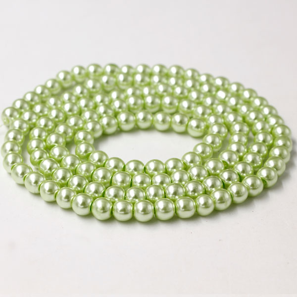 Glass Pearl Beads, Round, lt green, different size for choice, Hole:Approx 1mm, Length:Approx 32 Inch