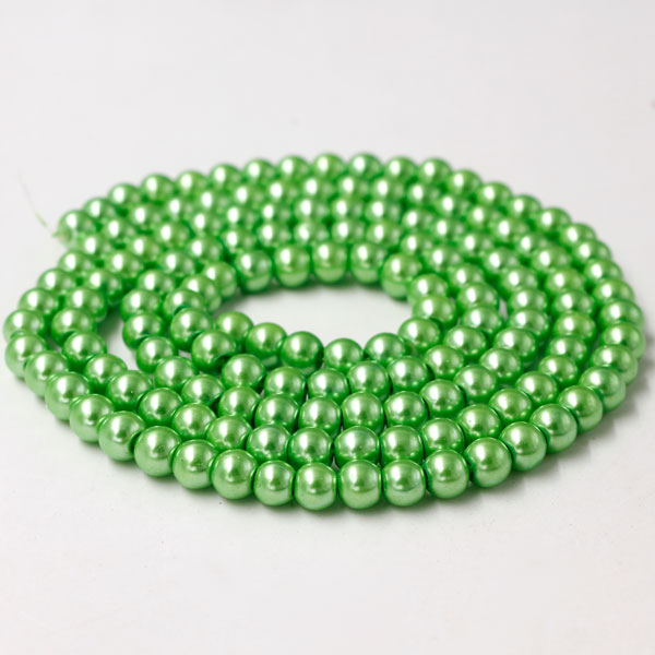 Glass Pearl Beads, Round, green, different size for choice, Hole:Approx 1mm, Length:Approx 32 Inch