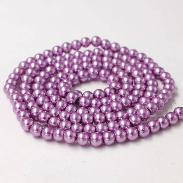 Glass Pearl Beads, Round, pink purple, different size for choice, Hole:Approx 1mm, Length:Approx 32 Inch