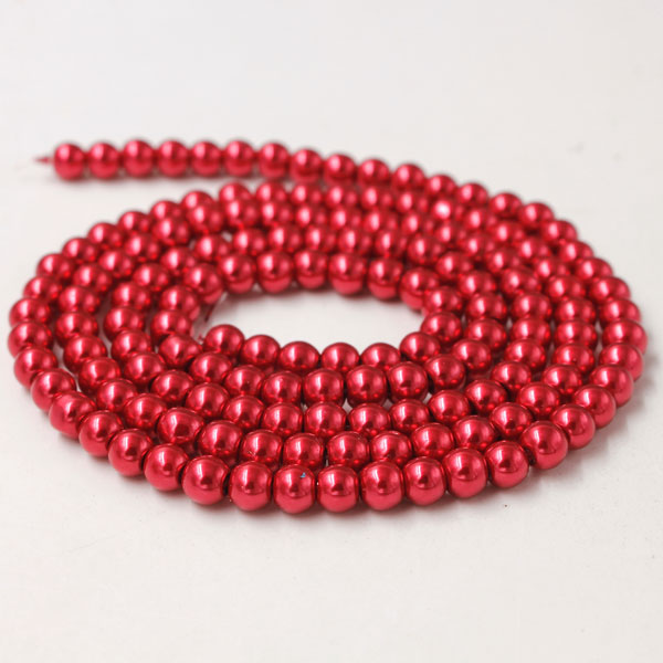 Glass Pearl Beads, Round, red, different size for choice, Hole:Approx 1mm, Length:Approx 32 Inch