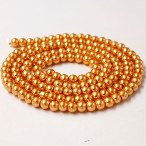 Glass Pearl Beads, Round, orange, different size for choice, Hole:Approx 1mm, Length:Approx 32 Inch