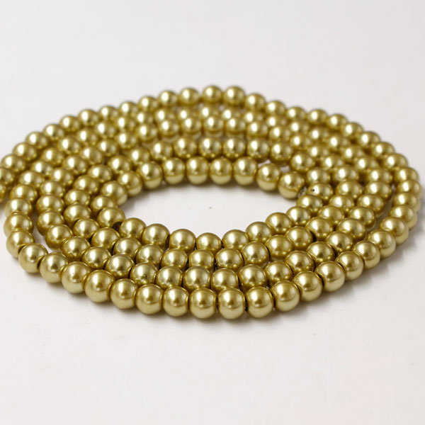 Glass Pearl Beads, Round, yellow khaki, different size for choice, Hole:Approx 1mm, Length:Approx 32 Inch