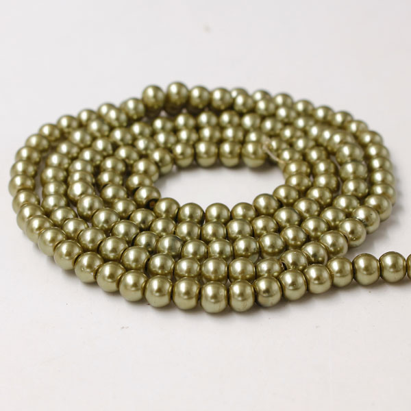 Glass Pearl Beads, Round, khaki, different size for choice, Hole:Approx 1mm, Length:Approx 32 Inch