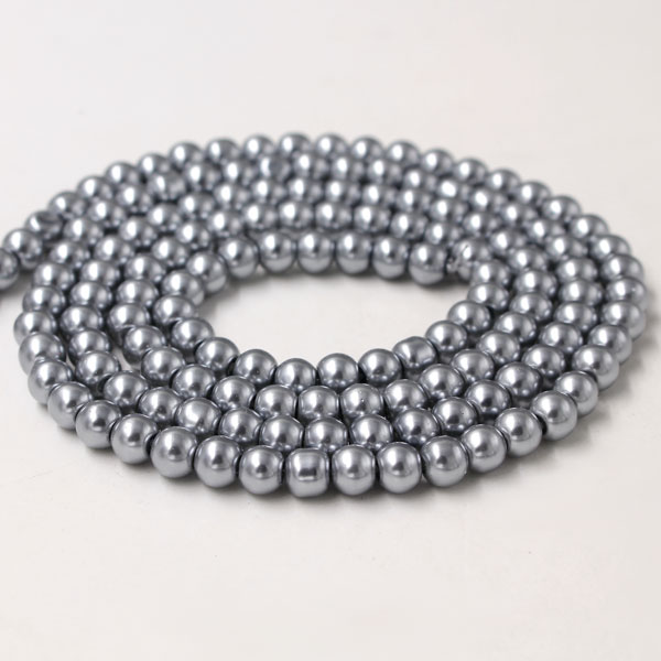 Glass Pearl Beads, Round, med gray, different size for choice, Hole:Approx 1mm, Length:Approx 32 Inch