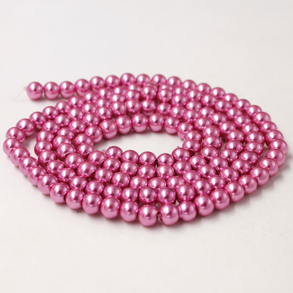 Glass Pearl Beads, Round, hot pink, different size for choice, Hole:Approx 1mm, Length:Approx 32 Inch