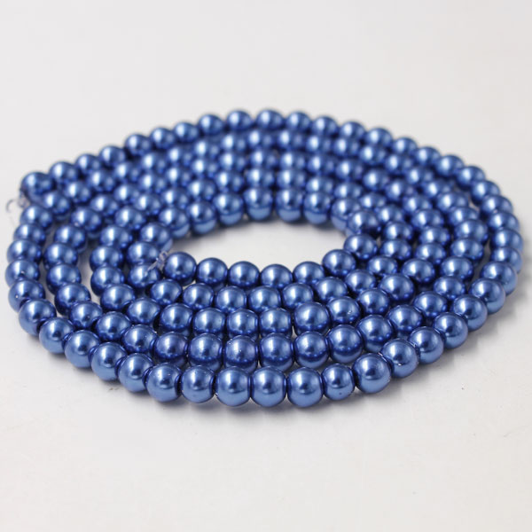 Glass Pearl Beads, Round, med blue, different size for choice, Hole:Approx 1mm, Length:Approx 32 Inch