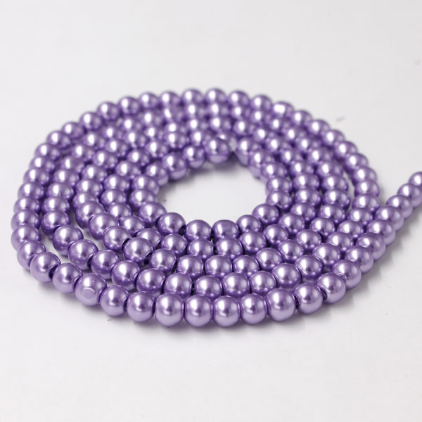 Glass Pearl Beads, Round, Mid Amethyst, different size for choice, Hole:Approx 1mm, Length:Approx 32 Inch