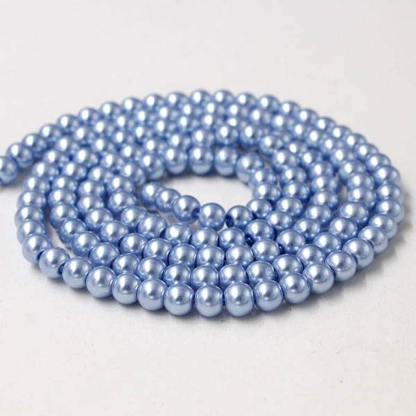 Glass Pearl Beads, Round, lt blue, different size for choice, Hole:Approx 1mm, Length:Approx 32 Inch