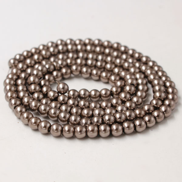 Glass Pearl Beads, Round, lt brown, different size for choice, Hole:Approx 1mm, Length:Approx 32 Inch